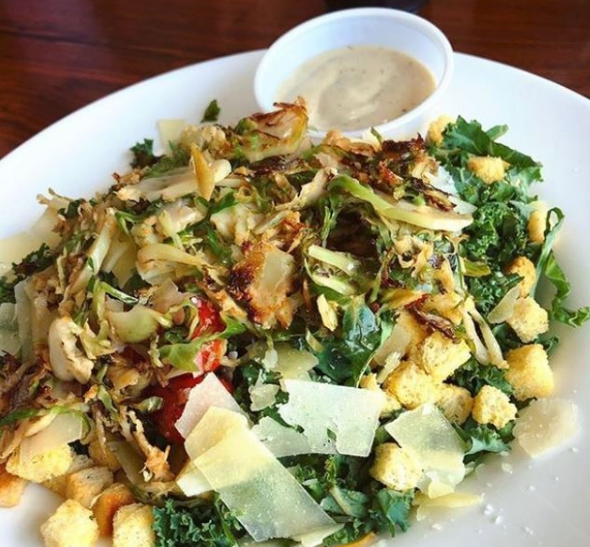 Brussels Sprouts and Baby Kale Caesar Salad